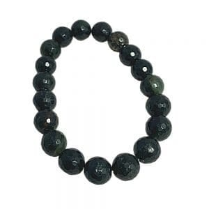 Green Rutilated Quartz with Pyrite Bracelet Faceted 10mm