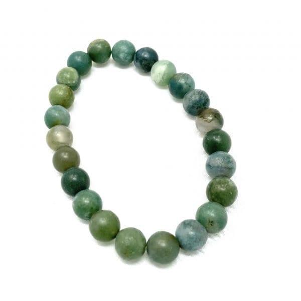 Moss Agate Bracelet /8mm Fros
