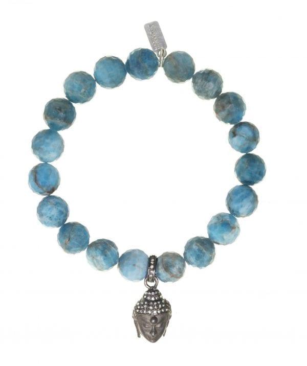 Margo Morrison Apatite & Diamond Buddha Bracelet