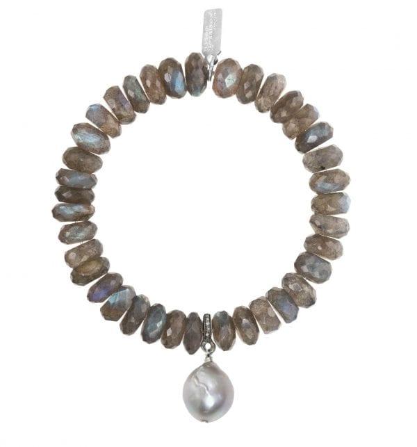 Margo Morrison Labradorite, Grey Baroque Pearl, & Diamond Bracelet