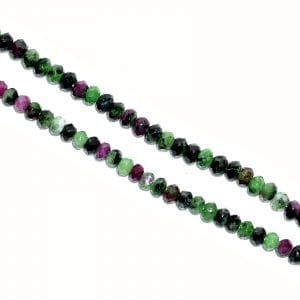 Ruby Zoisite 2mm x 4mm Faceted Rondelle Beads (16' In. Strand)