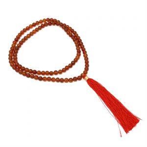 Carnelian Mala - 108 red/orange carnelian beads with a red tassel
