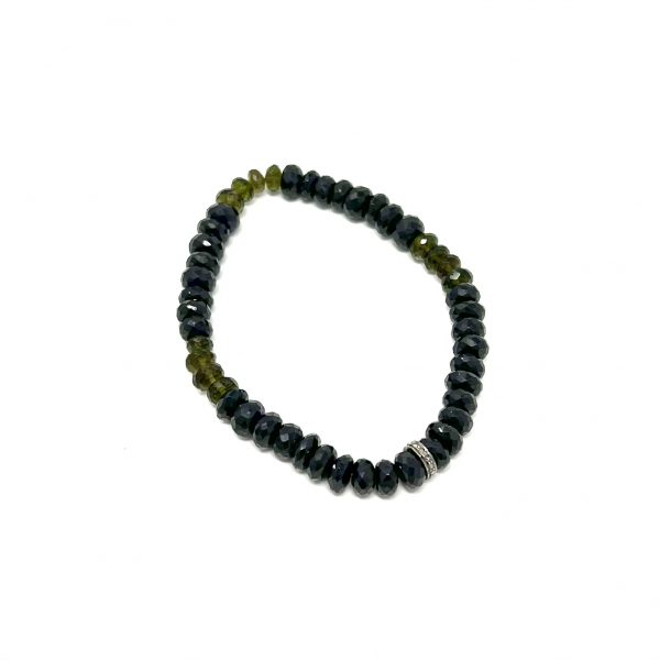 moldavite, spinel, diamond bracelet
